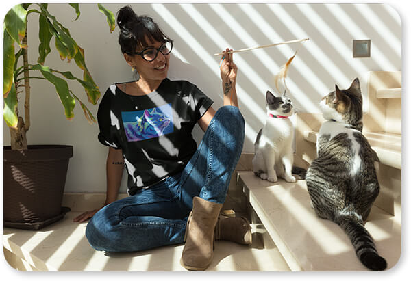 Cat Collection Woman Playing with her Cats Wearing a T-Shirt Blue Boy