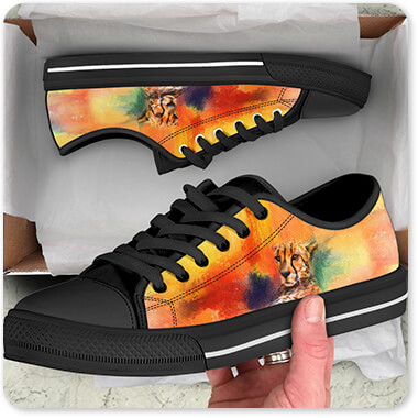 Cats Collection Colorful Expressions Cheetah OpenBox Low Top Canvas Shoes Black Trim