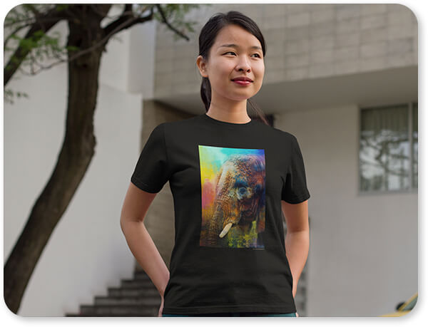 Colorful Expressions Collection Asian Woman Standing Outside Her Home T-Shirt Colorful Expressions Elephant