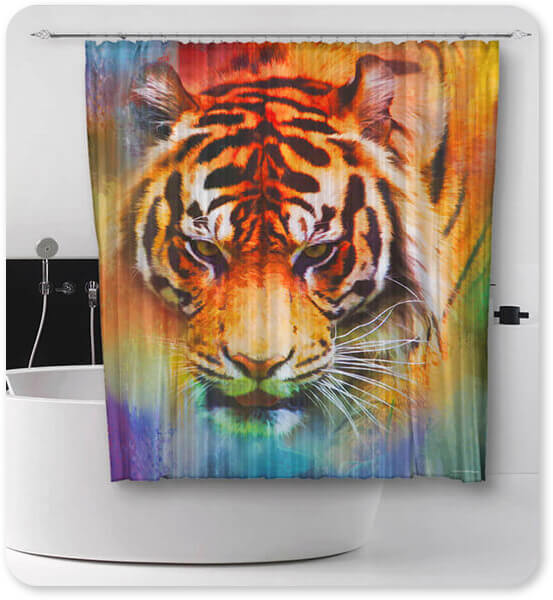 Colorful Expressions Collection Tiger - Bathroom Shower Curtain - EXPRESS DELIVERY!
