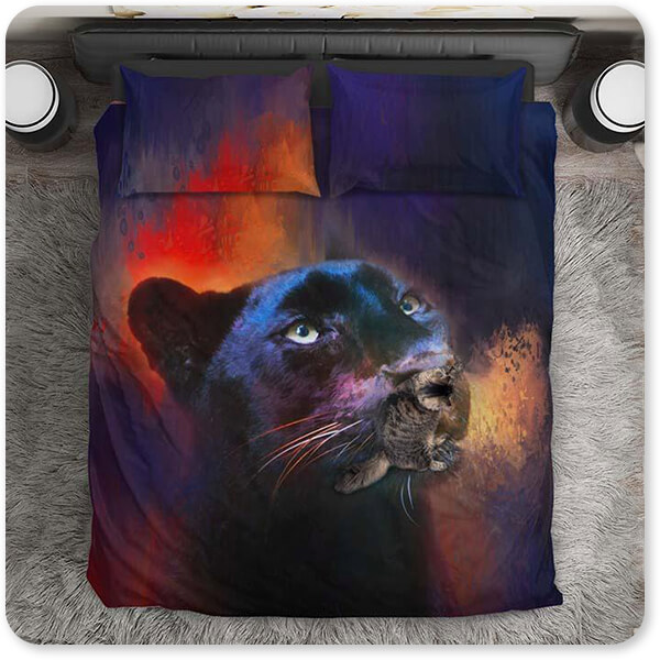 Colorful Expressions Collection Black Leopard - Duvet Bedding Set with Pillows