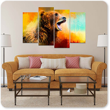 Colorful Expressions Grizzly Bear 2 - Multi-piece Canvas Art - 3 Designs - EXPRESS DELIVERY!