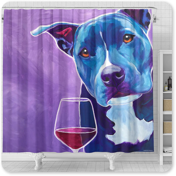 Dogs Collection Shakti With Wine - Bathroom Shower Curtain - EXPRESS DELIVERY!