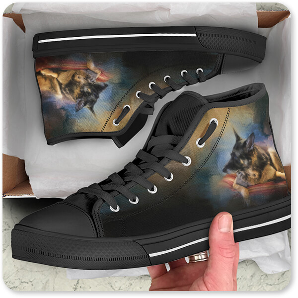 Dogs Collectino Canvas High Low Top Shoe Black White Trim Watching The Drama