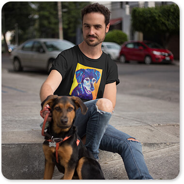 Dogs Collection Young White Guy Wearing a Round Neck Tee While with his Dog Kenobi Sits Beside Him