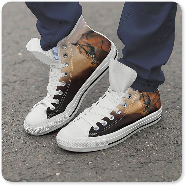 Horses Collection Canvas High Low Top Shoe Black White Trim Working the Heat