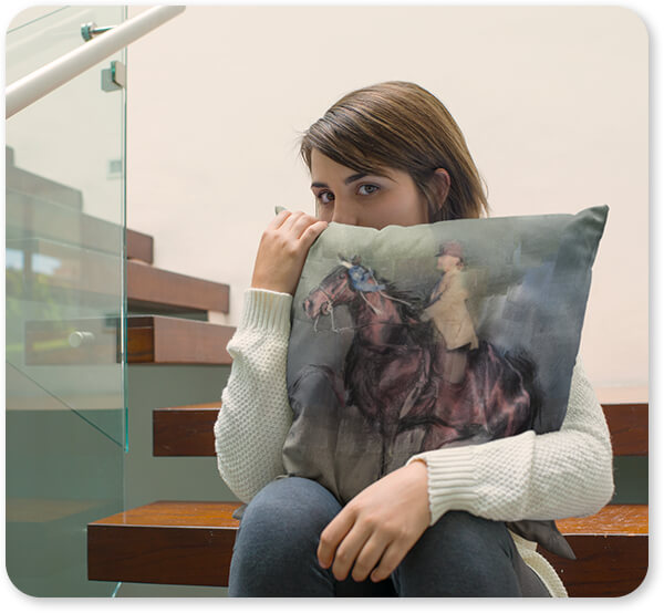 Horses Collection Young Lady Sitting Down in Wooden Stairways Holding a Square Pillow Horses Winner