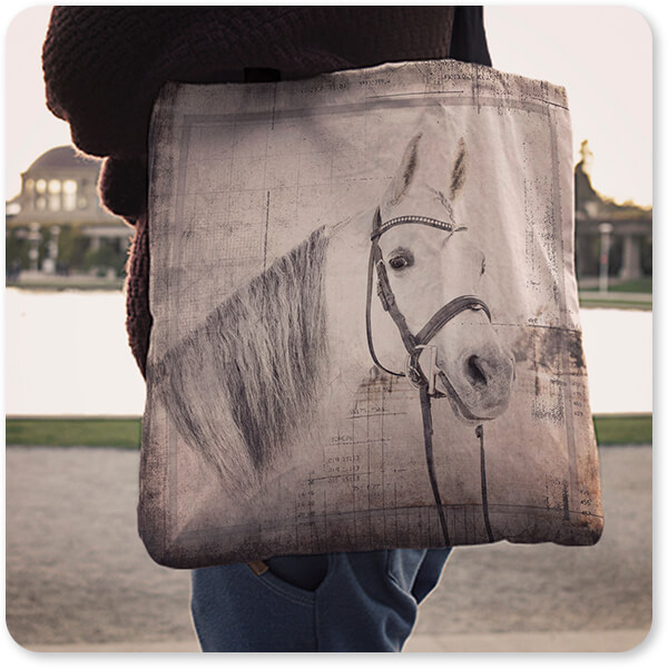 Horses Collection My Farm My Way - Canvas Tote Bags - 6 Designs over the shoulder of man woman walking by the water