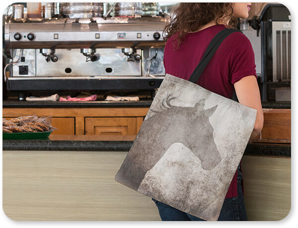 GypsyHorse Collection Woman at a Coffee Shop with Horse Tote Bag v2.5