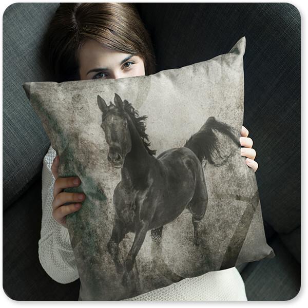 GypsyHorse Collection Young Girl Hiding Behind a Square Pillow v1.3