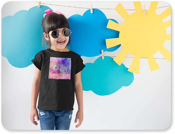 Jazzy Animal Collection Smiling Girl Wearing a Round Neck Tshirt Template Near Cardboard Sun and Clouds Pink and Purple Zebra