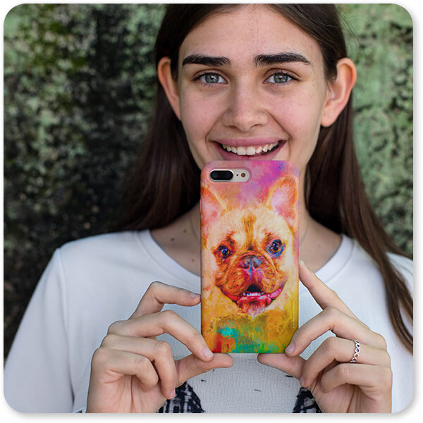 Jazzy Animal Collection Pretty Girl Showing an iPhone Case French Bulldog