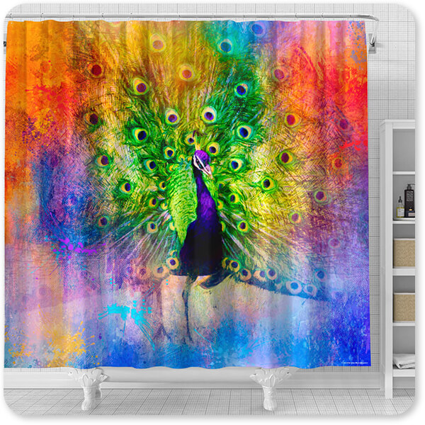 Jazzy Animal Collection Peacock - Bathroom Shower Curtain - EXPRESS DELIVERY!