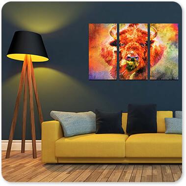 Jazzy Animal Collection Buffalo Buffalo - 3 Piece Canvas Art