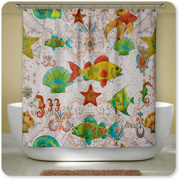 Nautical Treasures Collection Sea Life - Bathroom Shower Curtain - EXPRESS DELIVERY!