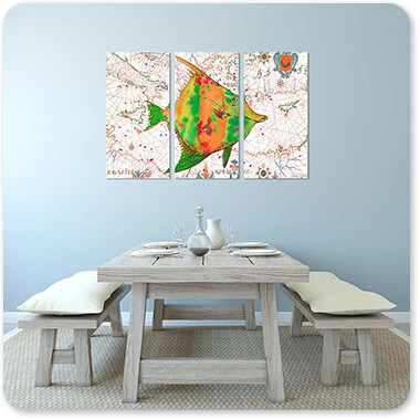 Nautical Treasures Green & Orange Fish - 3 Piece Canvas Art - EXPRESS DELIVERY!