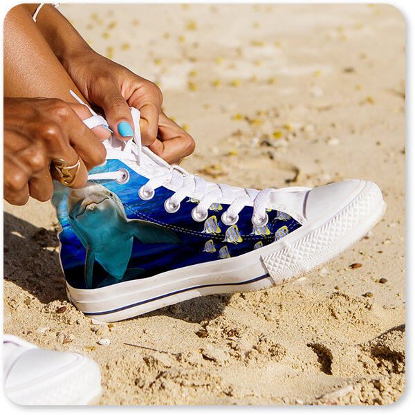 Sea Creatures Collection Dolphins Men's Woman's Canvas High Top Shoes Black White Trim Woman on the Beach - EXPRESS DELIVERY!