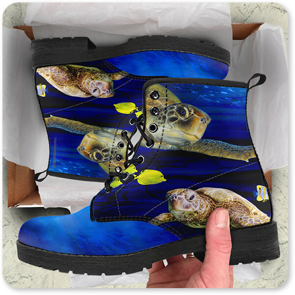 Sea Creatures Collection Sea Turtle Water - Men's Women's Leather Boots - EXPRESS DELIVERY!