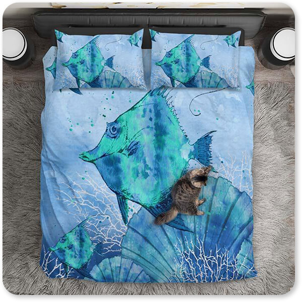 Sea Creatures Collection Ocean Blues Fish - Duvet Bedding Set with cat