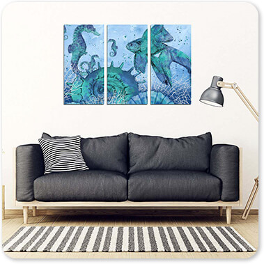 Sea Creatures Collection Ocean Blues Seahorse & Fish - 3 Piece Canvas Art