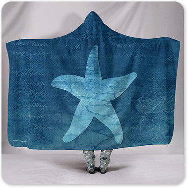 Sea Creatures Collection Gypsy Blue Cyanotype Starfish - Hooded Blanket