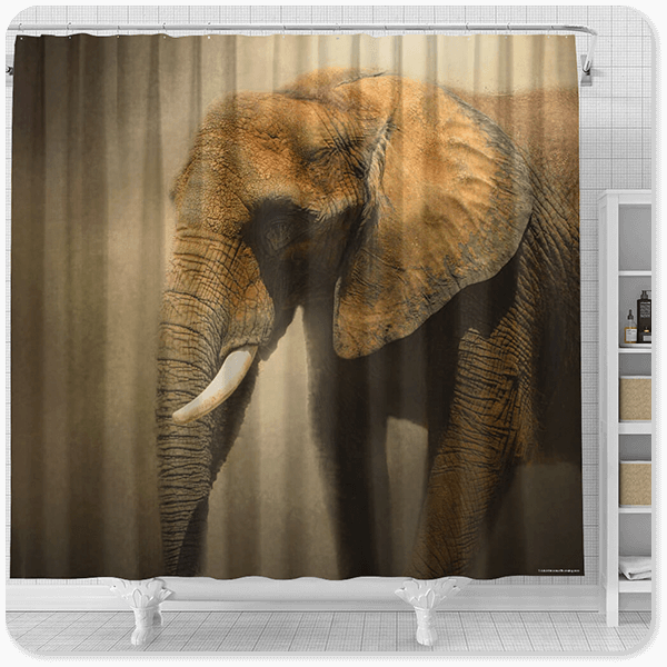 Wild Animals Collection The Elephant Emerges - Bathroom Shower Curtain - EXPRESS DELIVERY!