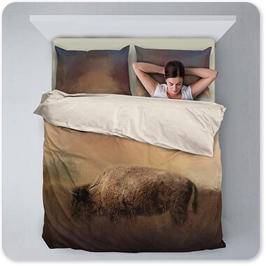 Wild Animals Collection Bison Grazing At Sunrise - Duvet Bedding Set