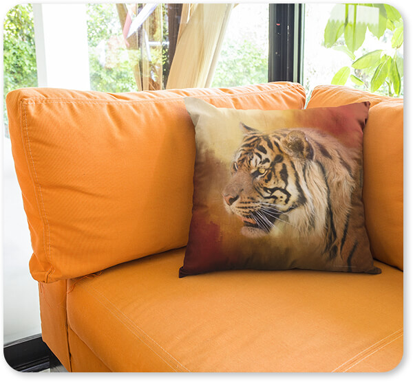 Wild Animals Collection Square Pillow Template Lying on an Orange Sofa in a Living Room - Greeting November Bengal Tiger