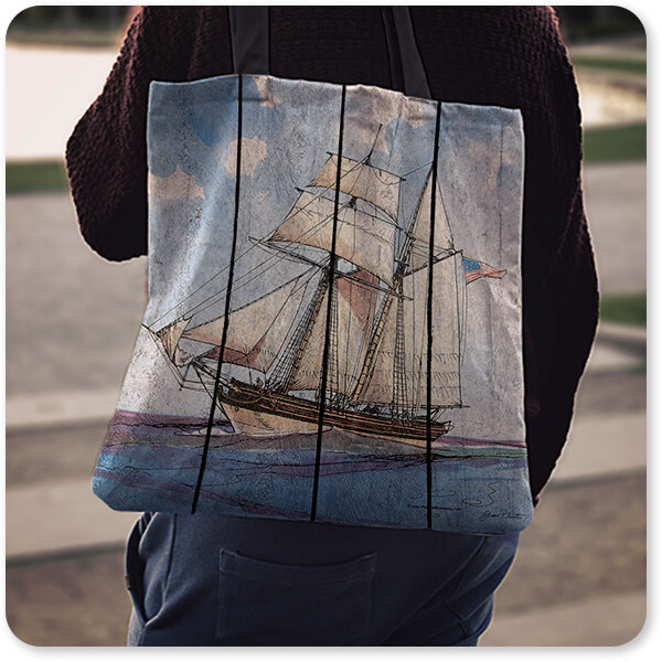 Boats and Ships Collection Nautical Ships-B American Vessel Canvas Tote Bag slung over the shoulder