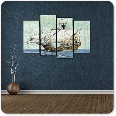 Boats and Ships Collection Nautical Ships-A - 4 Piece Canvas Art - EXPRESS DELIVERY!