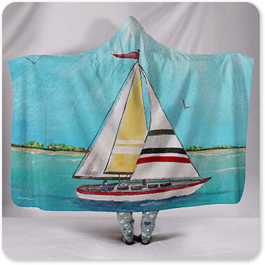 Boats and Ships Collection Summer Breeze Sailboat, Sunlight & Shore - Hooded Blanket