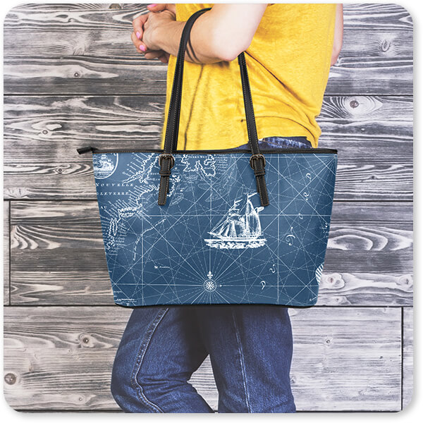 Boats and Ships Collection Large Small Leather Tote Bag - EXPRESS DELIVERY!