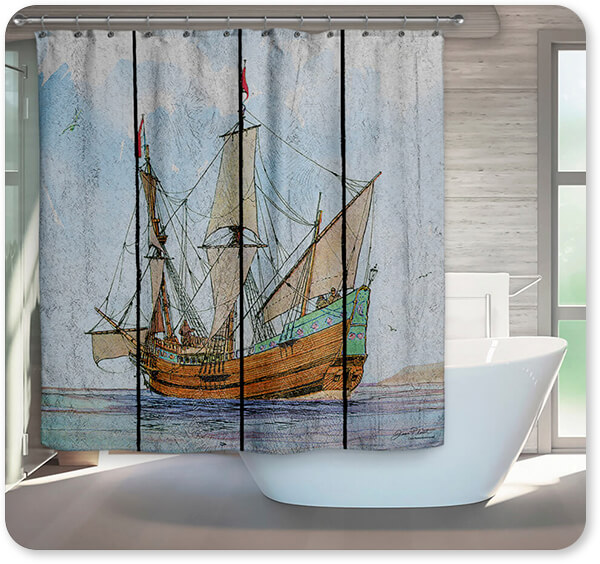 Boats and Ships Collection Nautical Ships-C - Bathroom Shower Curtain - EXPRESS DELIVERY!