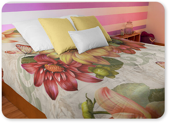 Floral Collection Flowers Autumn Bouquet-H Bedding Set Angled Shot of a Duvet Cover in a Women Girl Room