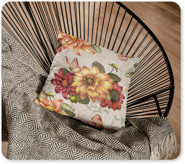 Floral Collection Flowers Autumn Bouquet-H Pillow Lying on a Black Acapulco Chair in a Living Room v2