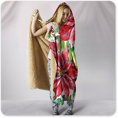 Floral Collection Flowers Holiday Celebration-A - Hooded Blanket