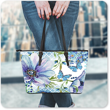 Floral Collection Flowers Sheila's Lovely Garden - Large Leather Tote Bag - EXPRESS DELIVERY!