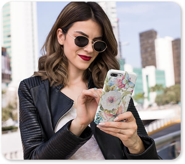 Floral Collection Flowers Garden Bliss-D - Slim Cell Phone Case Featuring a Trendy Woman With Sunglasses v2