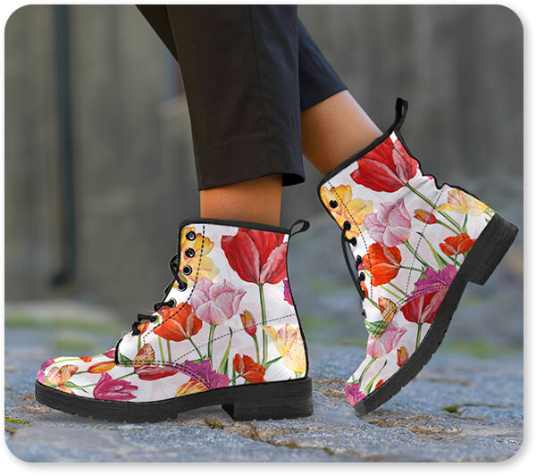 Floral Collection Flowers Springtime Botanicals-A - Women's Men's Leather Boots on Brown Box - EXPRESS DELIVERY!