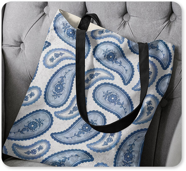 Patterns Collection Canvas Tote Bag on a Couch - Camo Paisley - Canvas Canvas Tote Bags - 2 Designs
