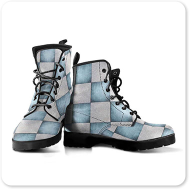 Patterns Collection Decorative Blue & White Checker Pattern - Men's Women's Leather Boots - EXPRESS DELIVERY!