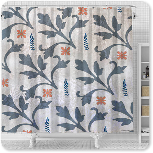 Patterns Collection Decorative Orange & Blue Flower Pattern - Bathroom Shower Curtain - EXPRESS DELIVERY!