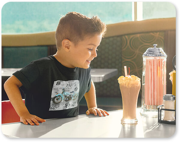 Route 66 Collection Young Boy Having a Milkshake T-Shirt Mockup Route 66 Blue Motorcycle 3