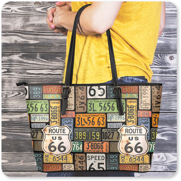 Route 66 License Plates Large Small Leather Tote Bag Woman Wood