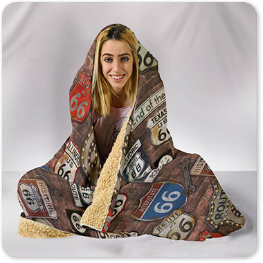 Route 66 Collection on Brick - Hooded Blanket-5