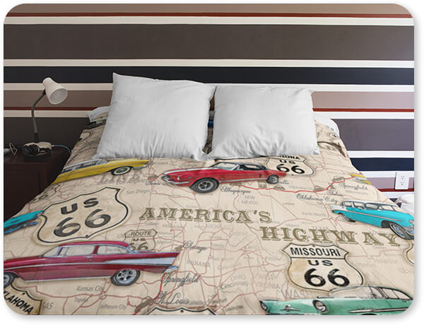 Route 66 Collection Duvet Cover at a Boy Room Duvet Bedding Set Muscle Car Maps