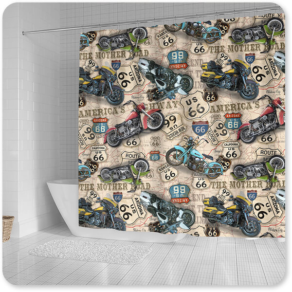 Route 66 Collection Vintage Motorcycles on Route 66 Classic Rides Beige v3 - Bathroom Shower Curtain - EXPRESS DELIVERY!
