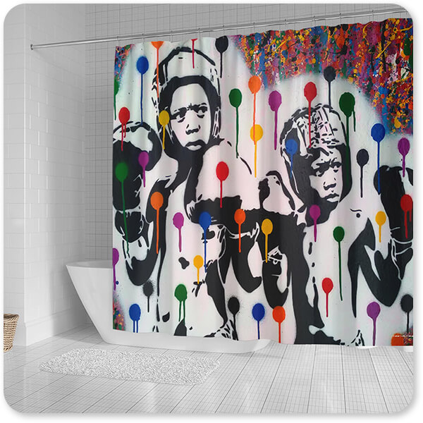 For the Funk Collection Boxer Rainbow Drips - Bathroom Shower Curtain - EXPRESS DELIVERY!