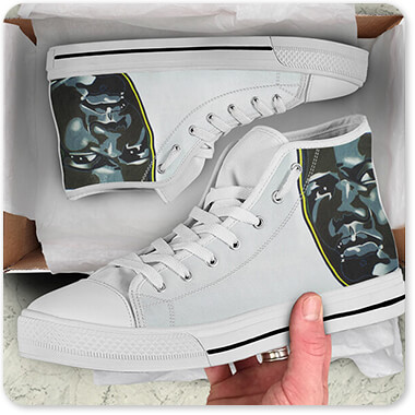 For the Funk Collection Panther - Men's Women's High Low Top Black White Trim Canvas Shoes - EXPRESS DELIVERY!