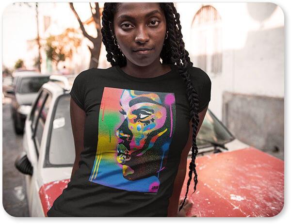 For the Funk Collection Kiss Series 2 Rainbow - Men's Women's Youth Longsleeve T-Shirt - Closeup of a Serious Black Girl Wearing a Round Neck Tee While Lying Against a Car